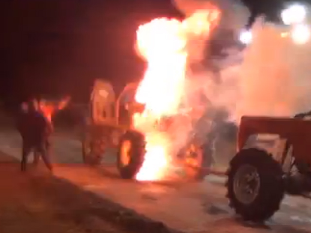 VIDEO: Truck Tug-Of-War Ends In Explosive Fire!