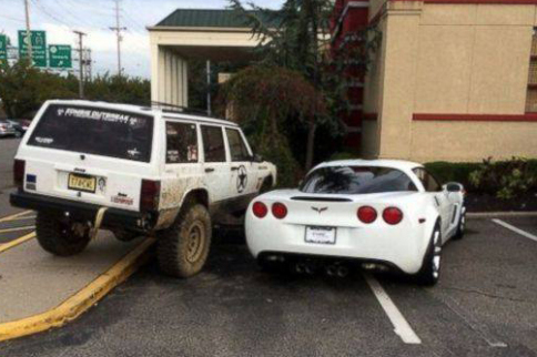 Watch This Jeep Owner Gaff Corvette Owner Parked Like A D*%$