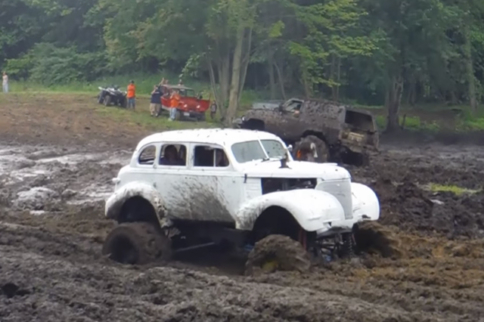 Video: Vintage Sedan Hits the Mud Bog