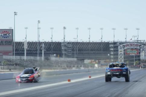 Video: Off-Road Trophy Truck VS On-Road Nitro Funny Car!