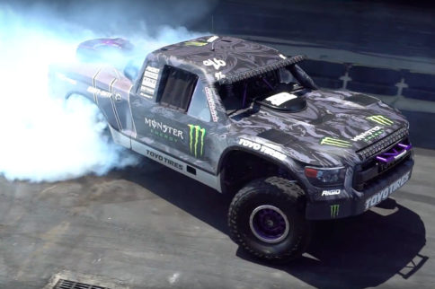 BJ Baldwin's 800HP Trophy Truck Shreds Tires on Donut Garage