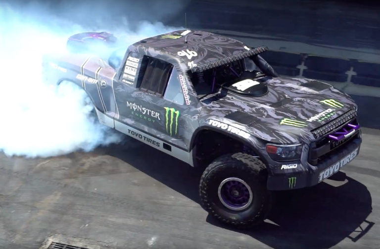 BJ Baldwin's 800HP Trophy Truck Shreds Tires on Donut Garage