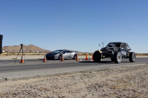 Video: Supercharged Lamborghini vs Ultra4 Truck Drag Race