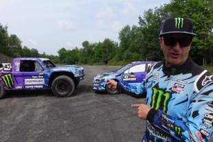Ken Block Races Hoonigan Trophy Truck Against His Subaru Rally Racer